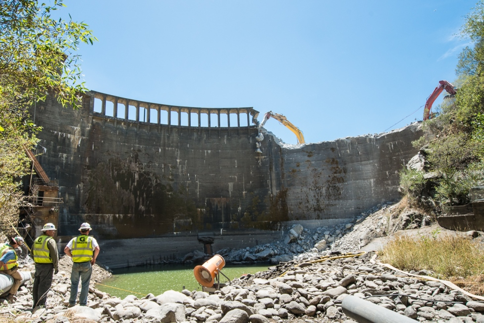 The demolition of San Clemente Dam continues in Carmel Valley, Calif. on August 3, 2015.  Carmel Valley is a city in Monterey County, California.