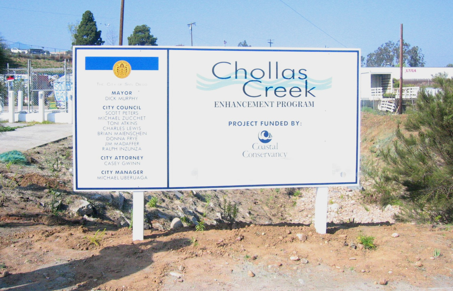 Chollos Creek construction sign